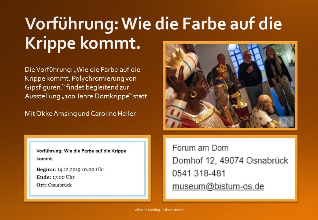 Vorführung Krippen fassen Krippenverein Osnabrück Diözesanmuseum Krippenausstellung