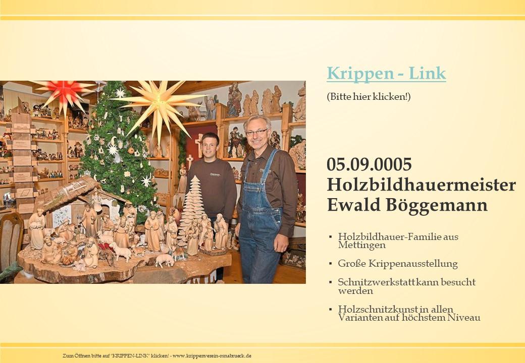 Holzbildhauermeister Schnitzer Krippenschnitzer Ewald Böggemann Mettingen Krippe