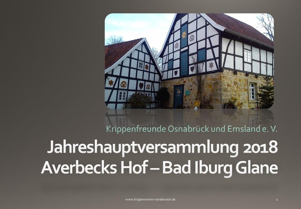 Krippenverein Krippenfreunde Osnabrück Krippenausstellung Jahreshauptversammlung