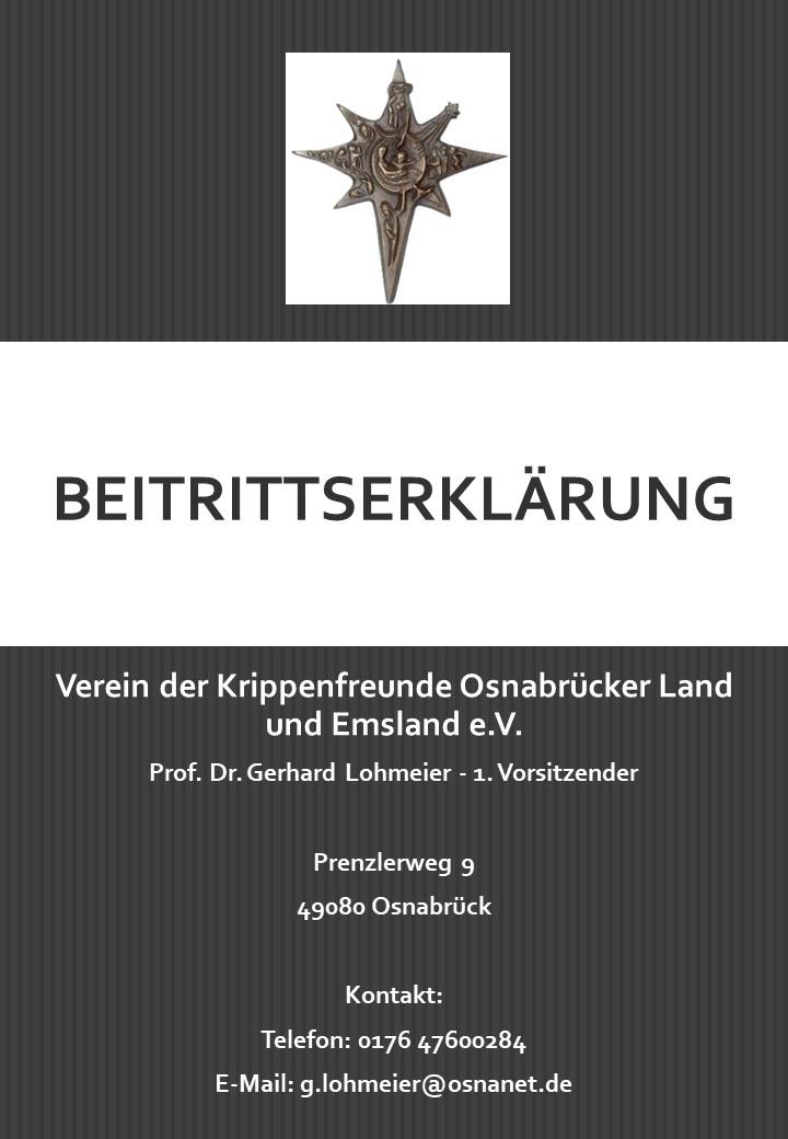 Beitrittserklärung Krippenfreunde Osnabrück Lastschrifteinzug Krippenverein