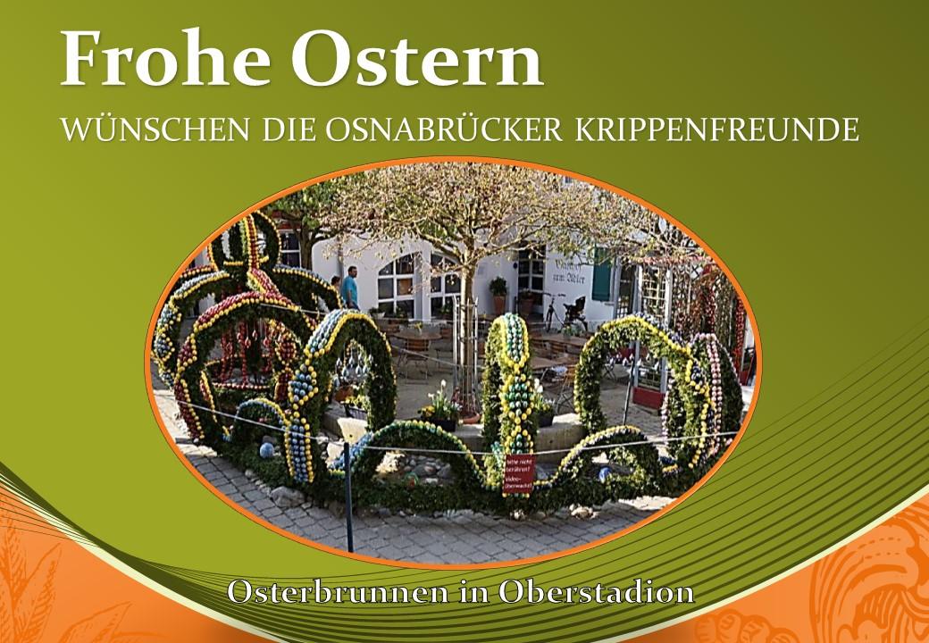 Krippenverein Krippenfreunde Osnabrück Frohe Ostern Oberstadion nativity presepre belen navidad
