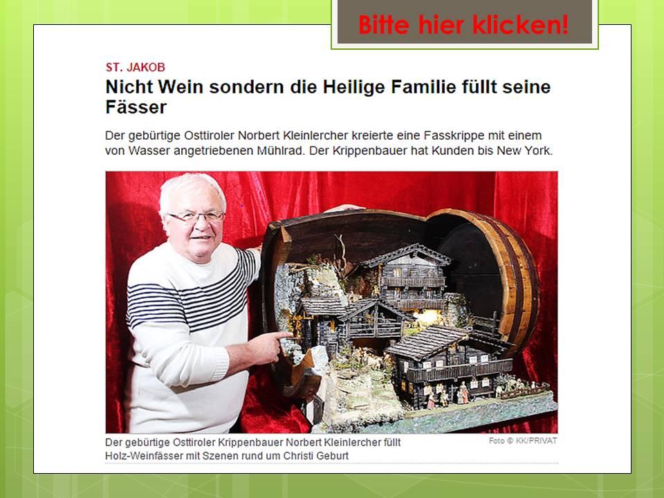 Norbert Kleinlercher Krippe Fasskrippe Krippenausstellung Weihnachtsausstellung Weihnachtsmarkt